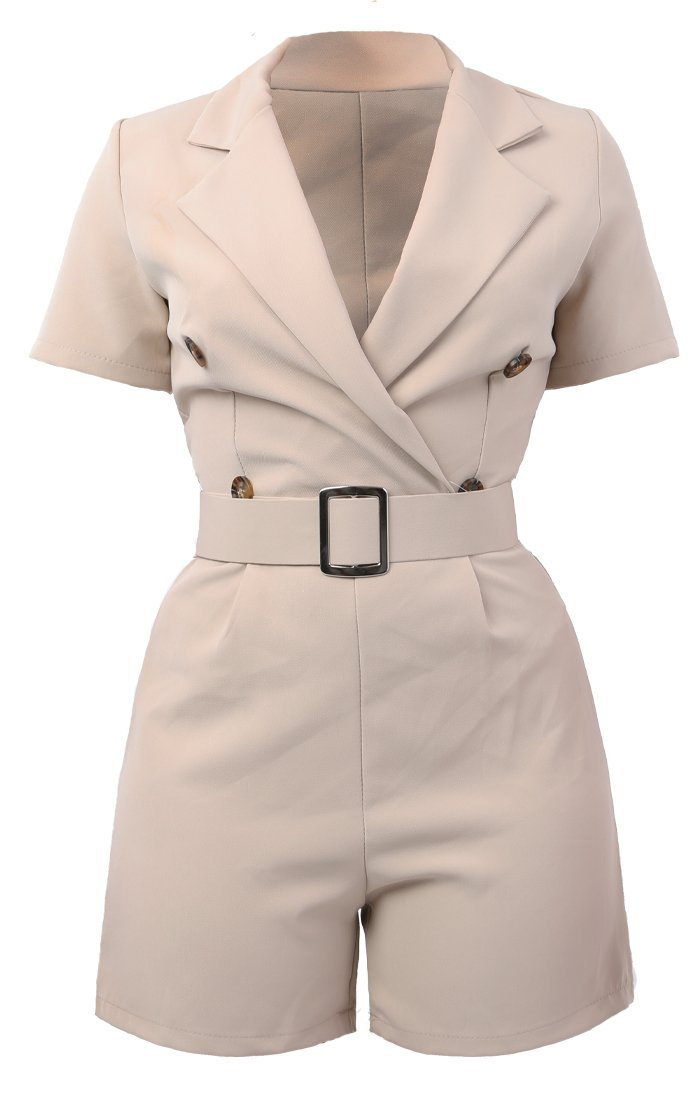 Beige Blazer Style Playsuit - Laurel