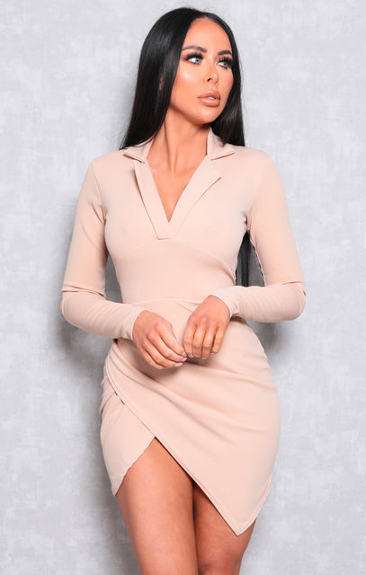 Beige Collar Wrap Side Bodycon Mini Dress - Matilda