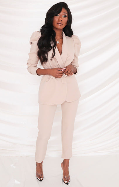 Beige Oversized Belted Blazer & Slim Leg Trousers Co-ord - Kama
