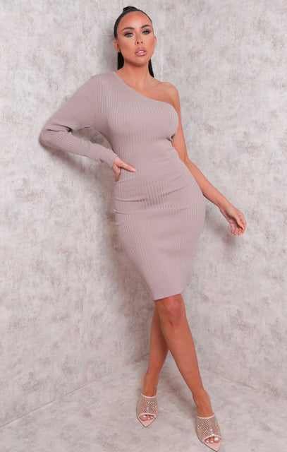Beige Ribbed One Shoulder Bodycon Mini Dress - Sabrina