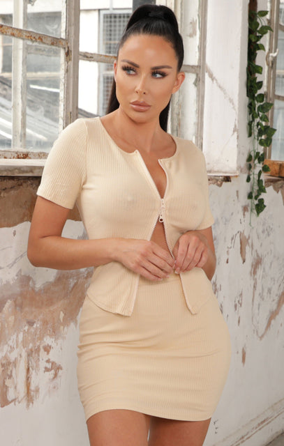 Beige Ribbed Zip Up Co-ord - Louise NO PRICE DONT PUT LIVE