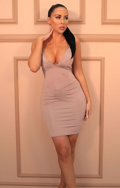 Beige Slinky Plunge Bodycon Mini Dress - Orsa