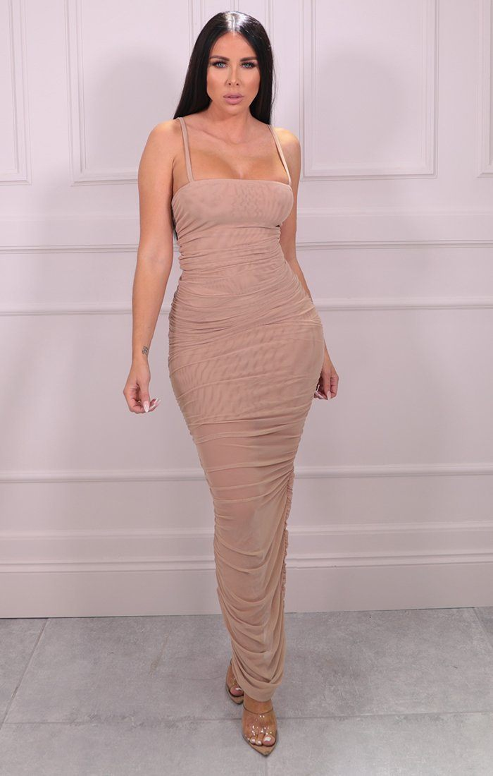 Beige Slinky Ruched Split Leg Mesh Maxi Dress - Mariah