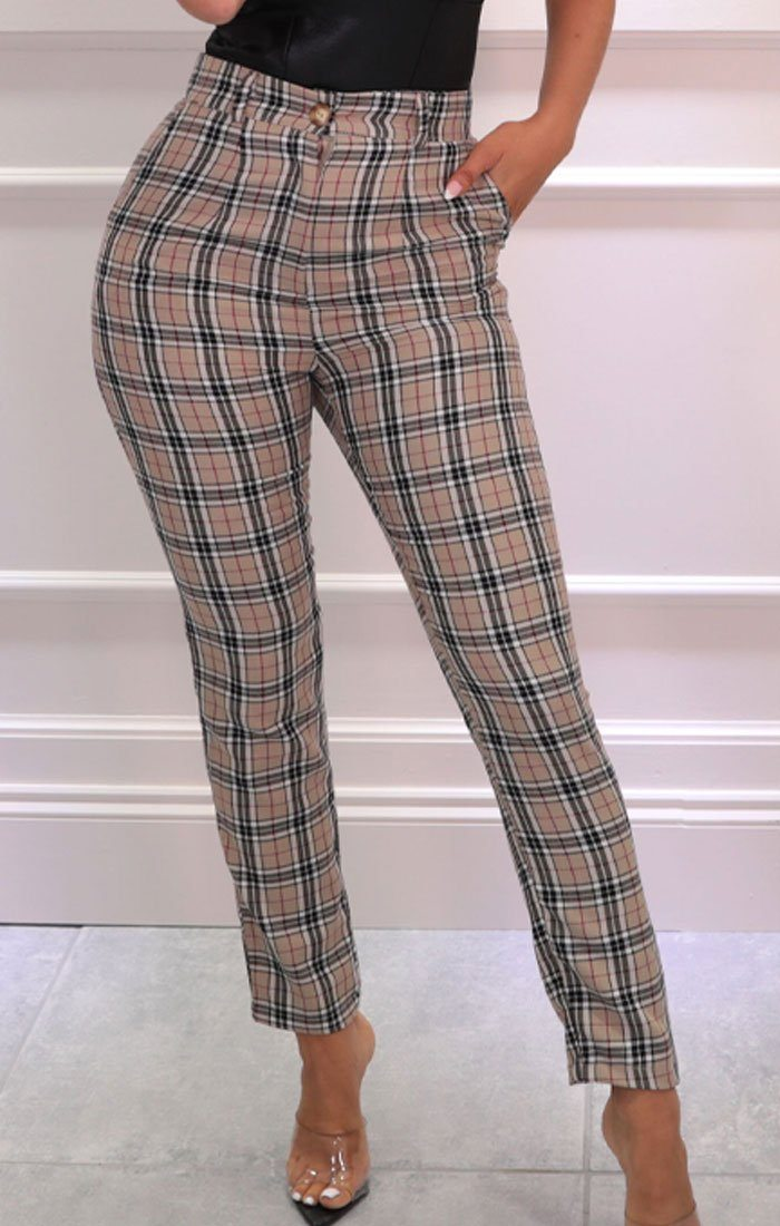Beige Tartan High Waisted Skinny Leg Trousers - Percy