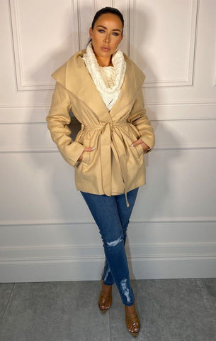 Beige Waterfall Coats