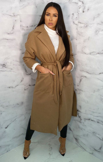 Beige Waterfall Belted Long Line Coat - Marie