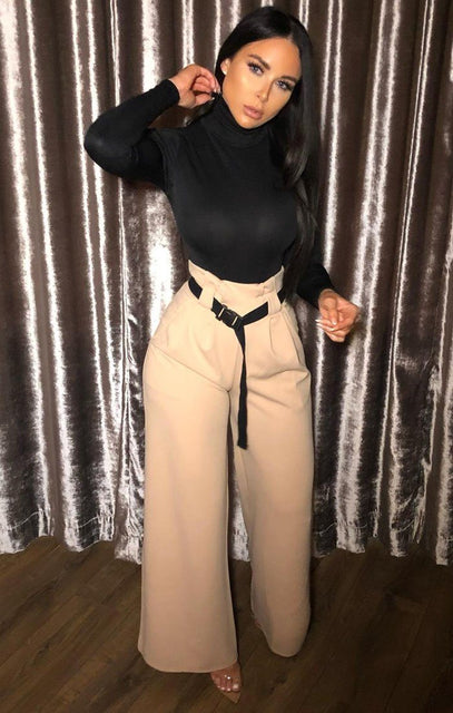 Stone Buckle Belt High Waist Trousers - Selena