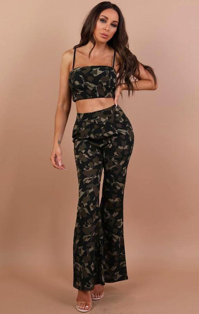 Khaki Camo Crop Top And Trousers Co Ord Set - Melanie