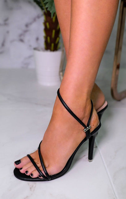 Black Ankle Strap Thin Heels - Lyla