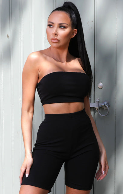 Black Bandeau Cycling Shorts Co-ord - Kirsty