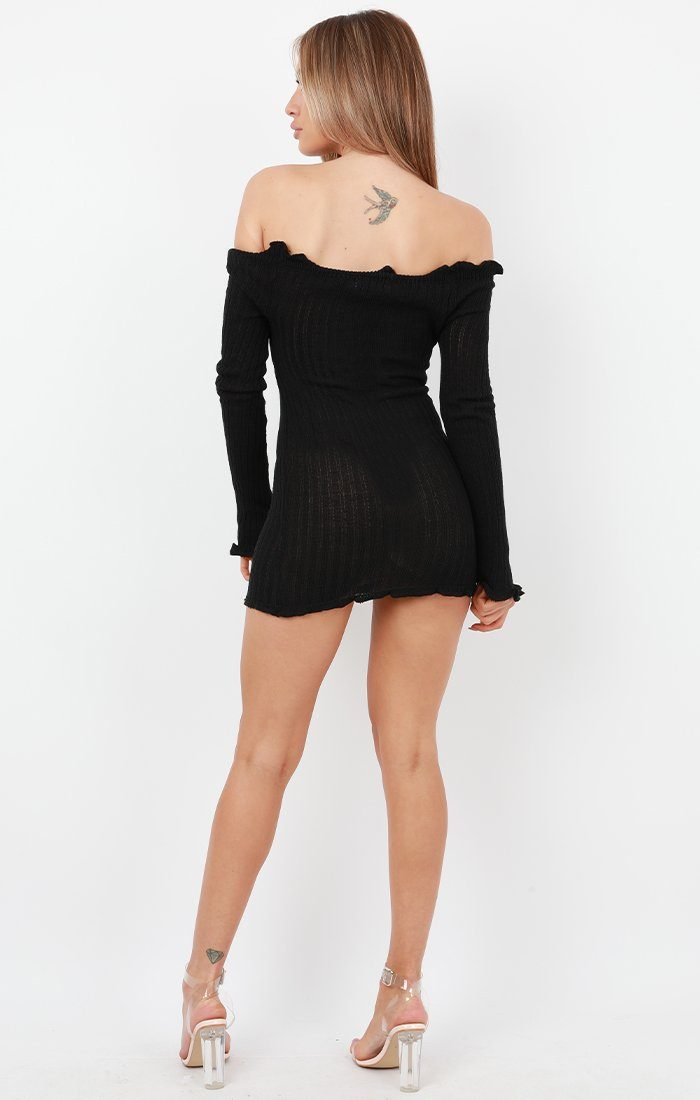 Black Bardot Knitted Mini Dress - Carmen