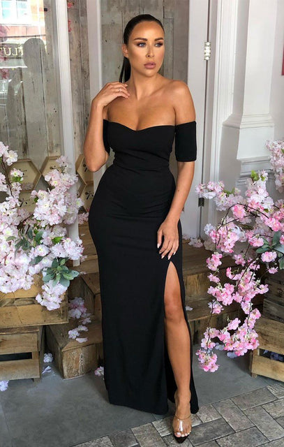 Black Bardot Maxi Dress - Alyssa