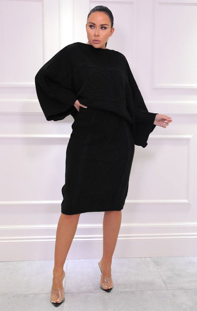 Black Bat Wing Extreme Sleeve Knitted Jumper Co-ord - Milly