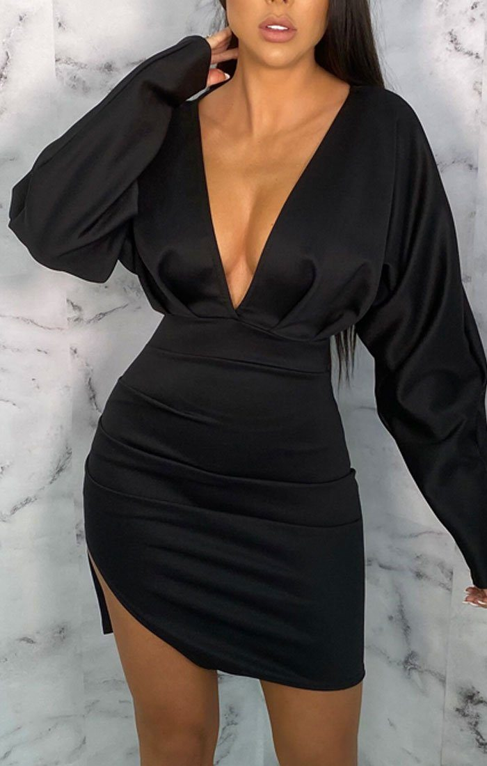 Black Bat Wing Sleeve Plunge Bodycon Mini Dress - Rubin