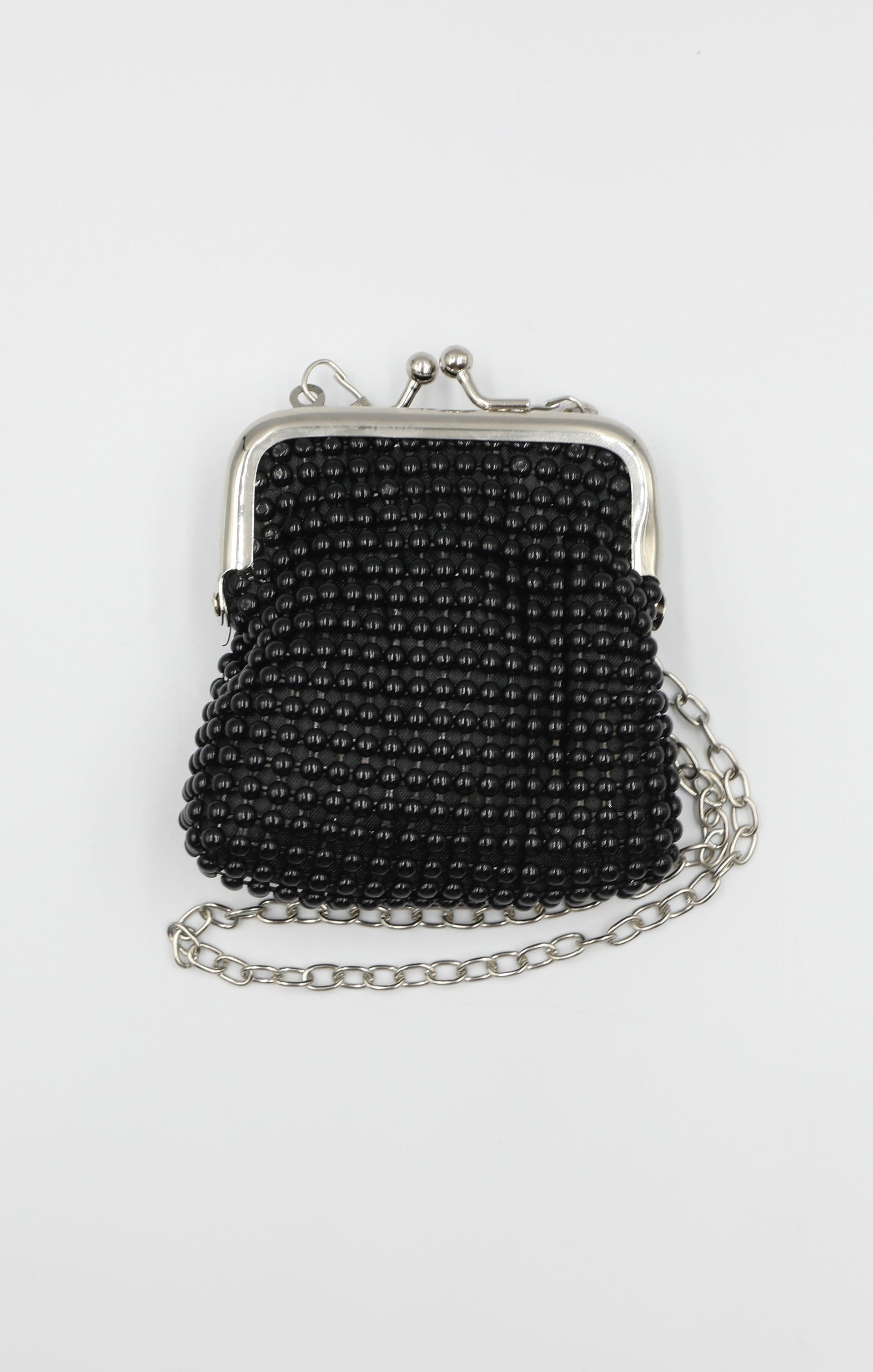 Black Beaded Mini Coin Purse Bag - Georgia