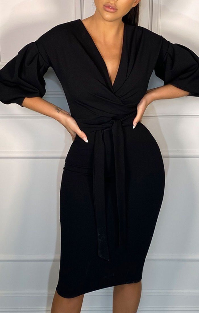 Black Belted Bodycon Midi Wrap Dress - Angelica