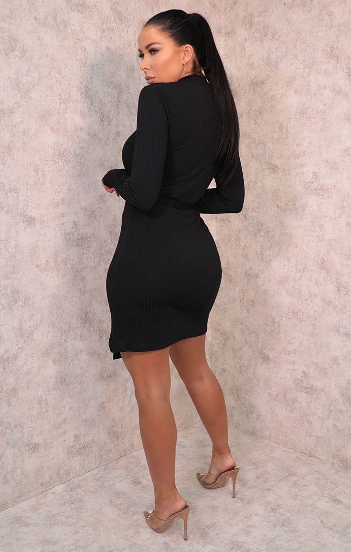 Black Belted High Neck Ribbed Bodycon Mini Dress - Emmy