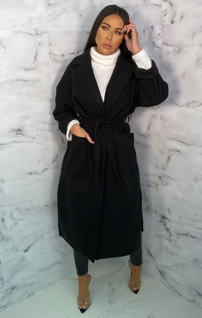 Black Belted Long Line Coat - Marie