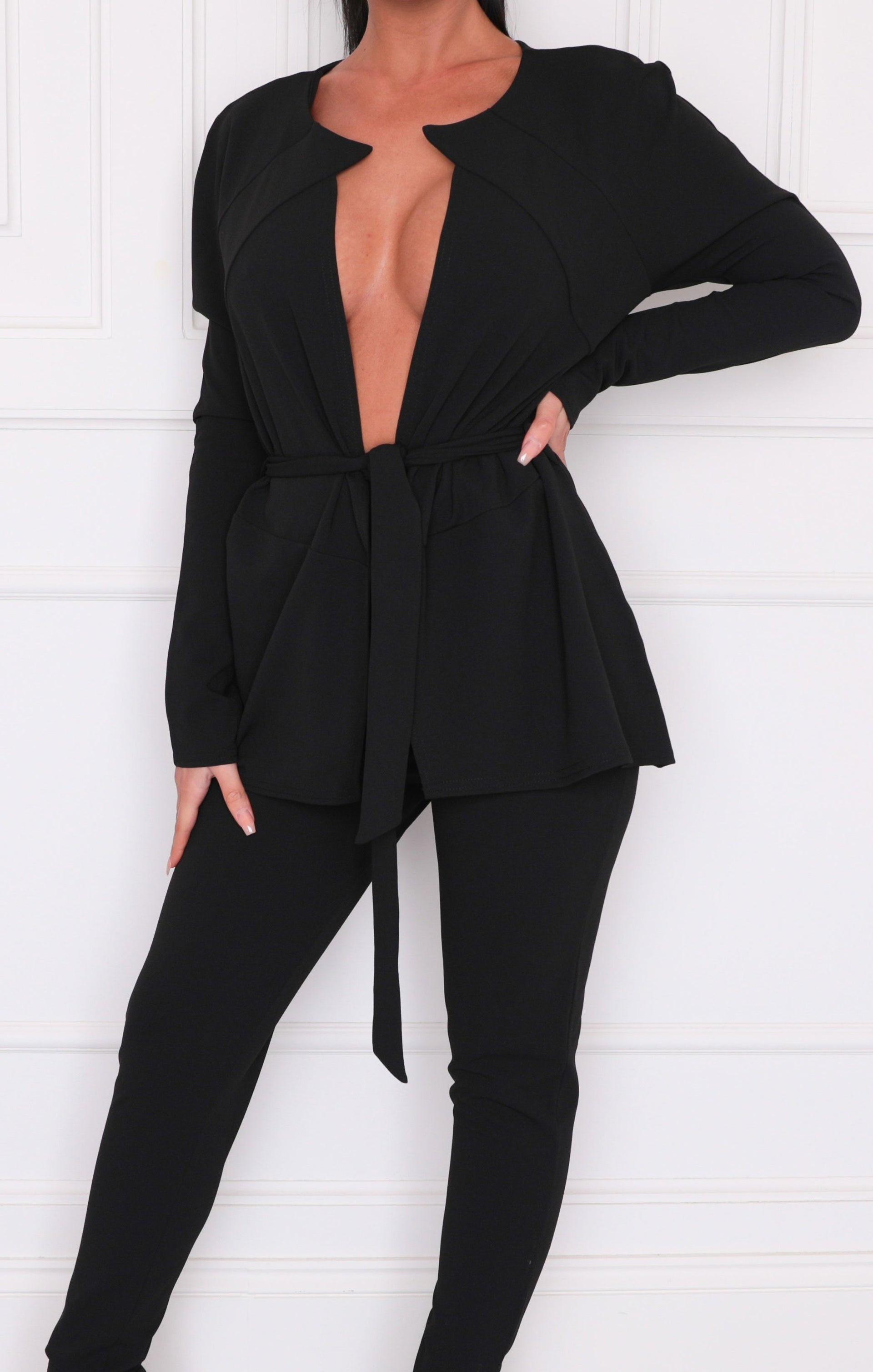 Black Belted Long Sleeve Blazer - Karis