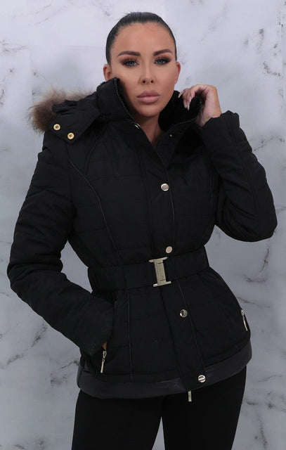 Black Belted Padded Faux Fur Hooded Coat - Giovanna