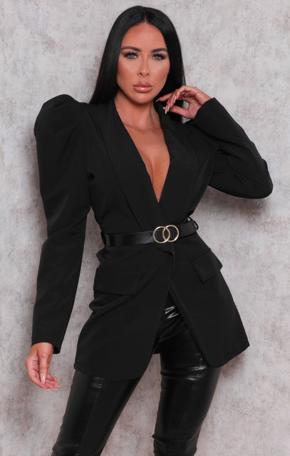 Black Belted Padded Shoulder Blazer Top - Denise
