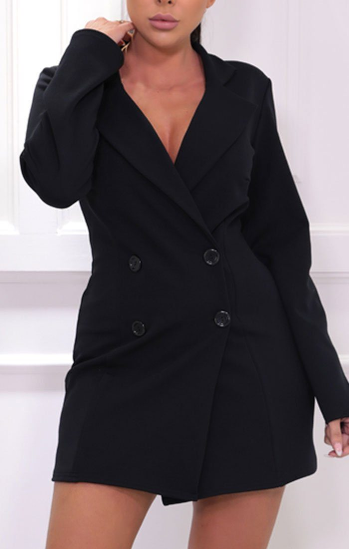 Black Blazer Double Breasted Mini Dress - Chloe