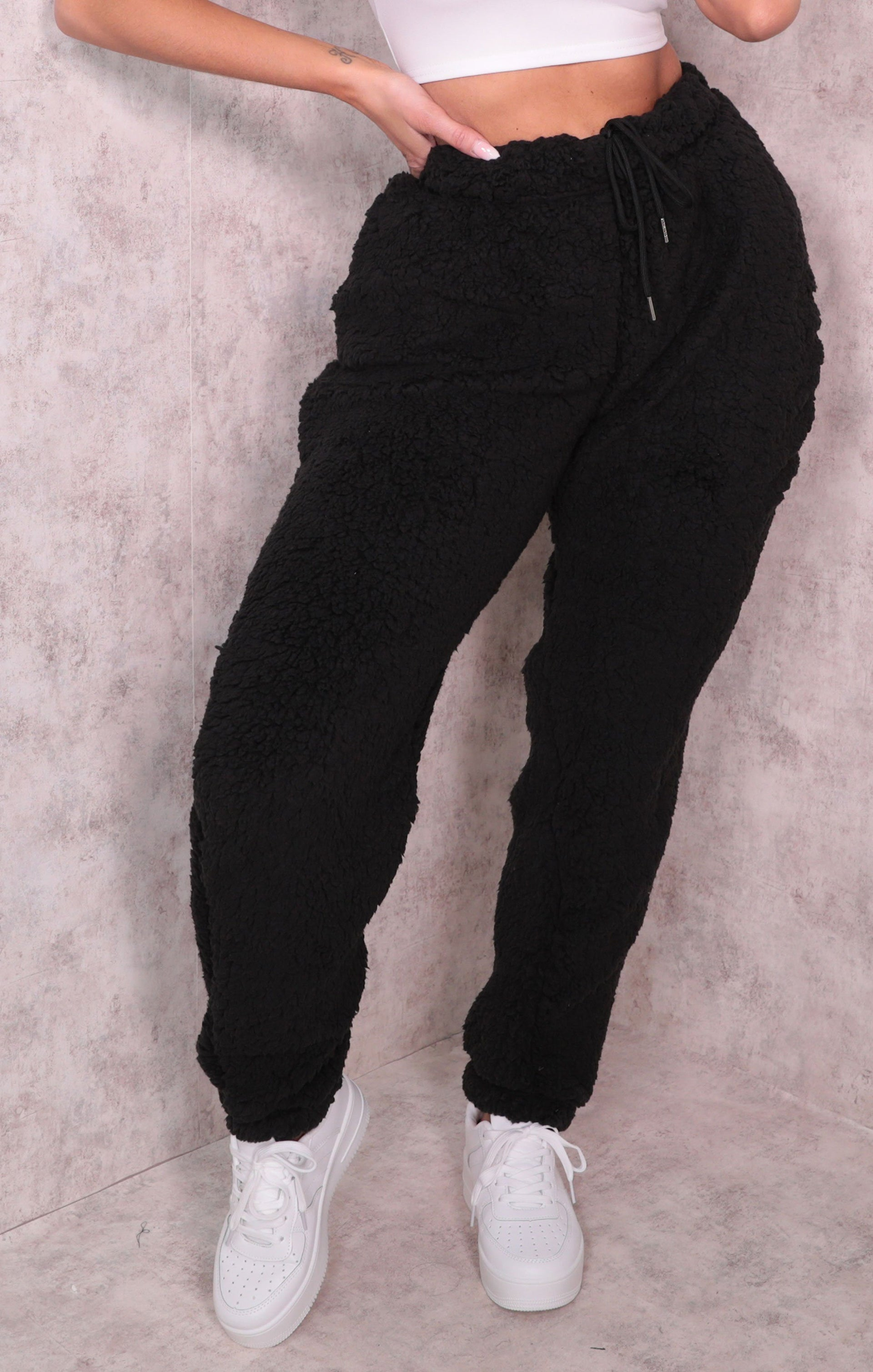 Black Borg Cuffed Oversized Teddy Joggers - Anya