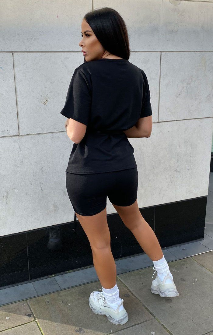 Black Boxy Fit Short Sleeve Top - Wren