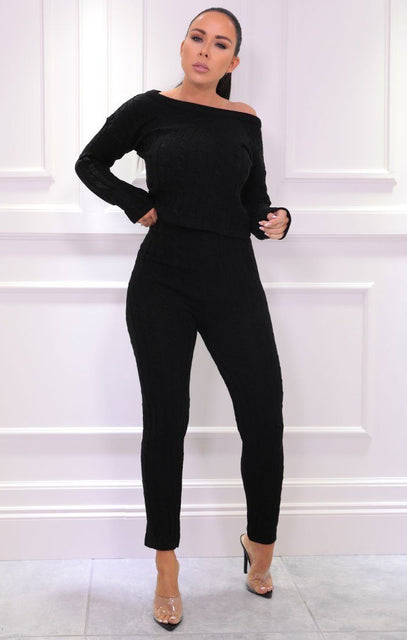 Black Cable Knit Loungewear Set - Alison