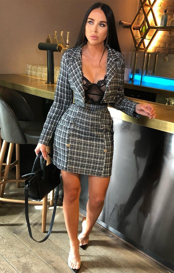 Black Check Cropped Blazer - Morgan
