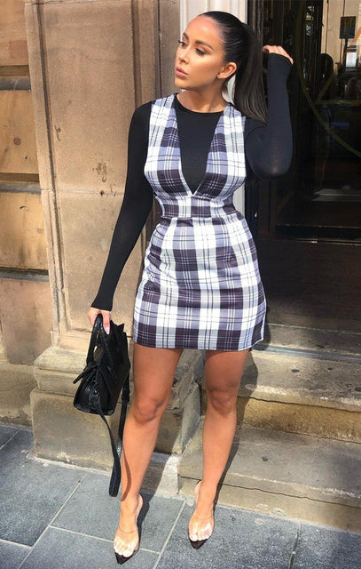 Black Check Wide Strap Pinafore - Dany