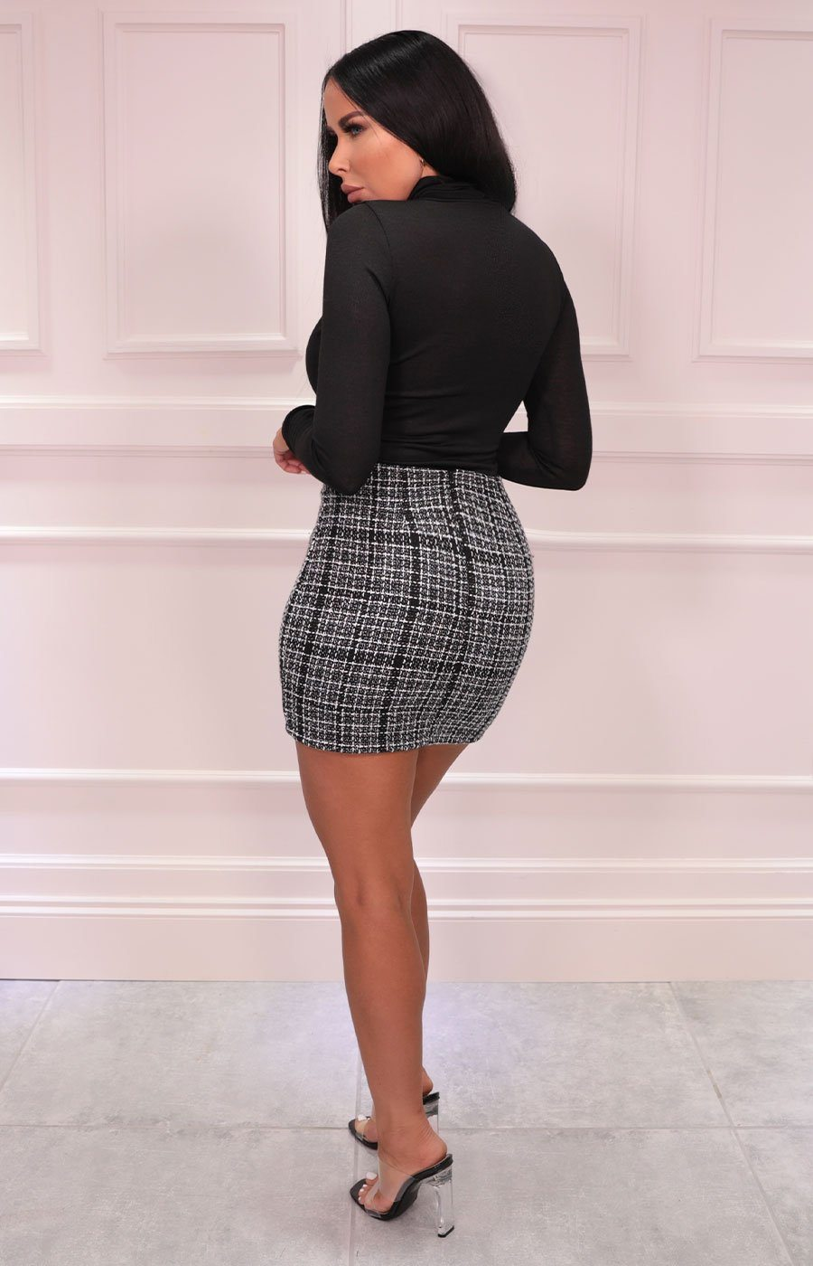 Black Checkered Button Detail Mini Skirt - Cher