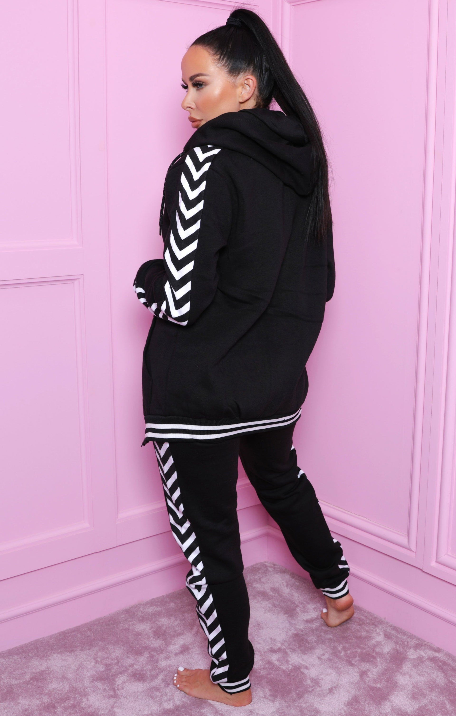 Black Chevron Print Zip Up Loungewear Set - Kris