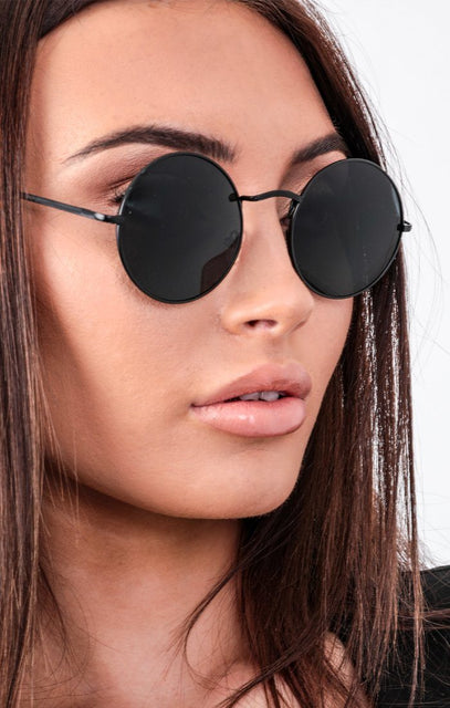 Black Circle Thin Frame Sunglasses - Jolene