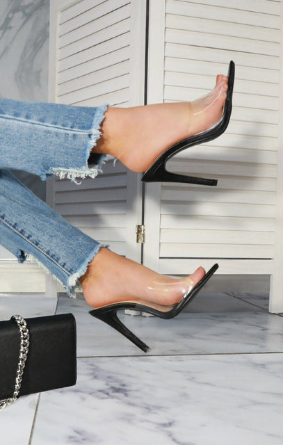 Black Clear Mules - Robin