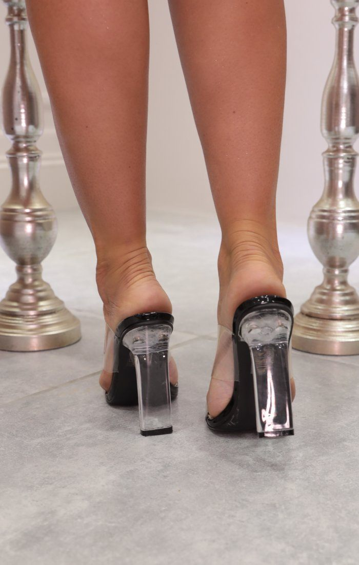 Black Clear Perspex Double Strap Mules - Meadly