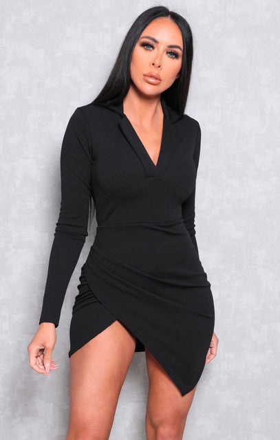 Black Collar Wrap Side Bodycon Mini Dress - Matilda
