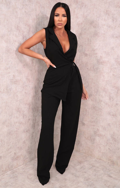 Black Collared Wrap Jumpsuit - Jazlyn