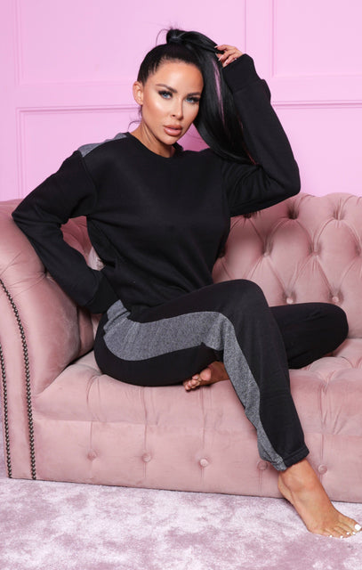 Black Contrast Side Loungewear Set - Brooklynn