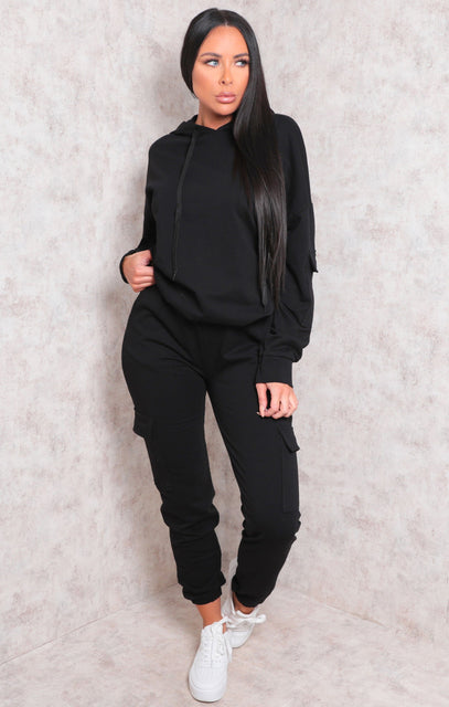 Black Contrast String Cuffed Loungewear Set - Mercy