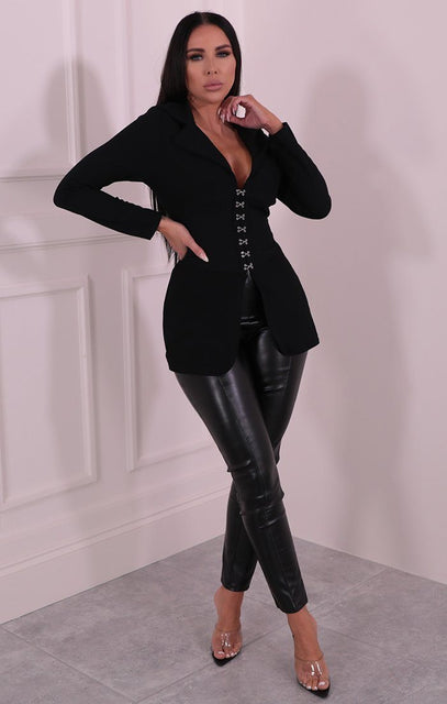 Black Corset Collar Blazer Jacket - Gwen