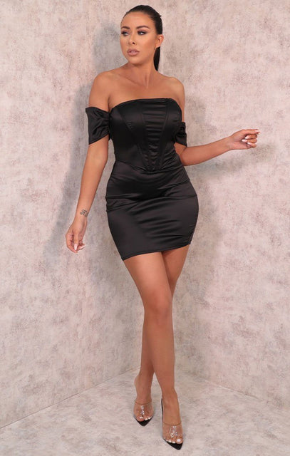 Black Corset Satin Bardot Bodycon Mini Dress - Jade