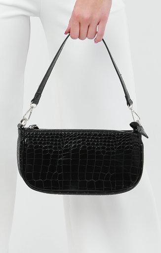 Black Croc Print Mini Clutch Bag - Gina