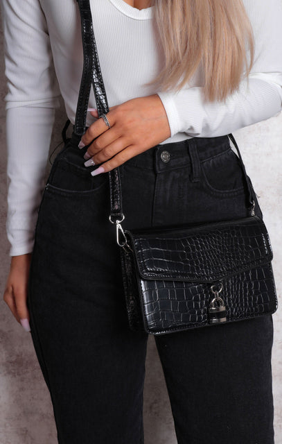 Black Croc Print Padlock Crossbody Grab Bag - Palma