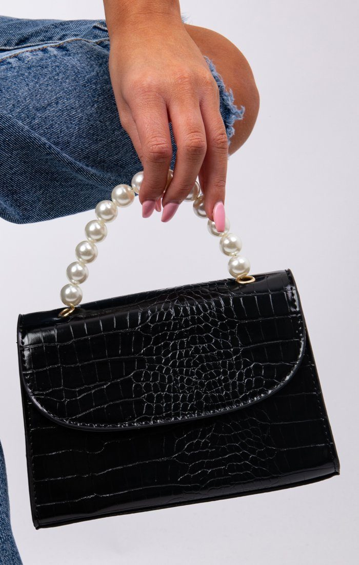 Black Croc Print Pearl Handle Grab Bag - Brandon