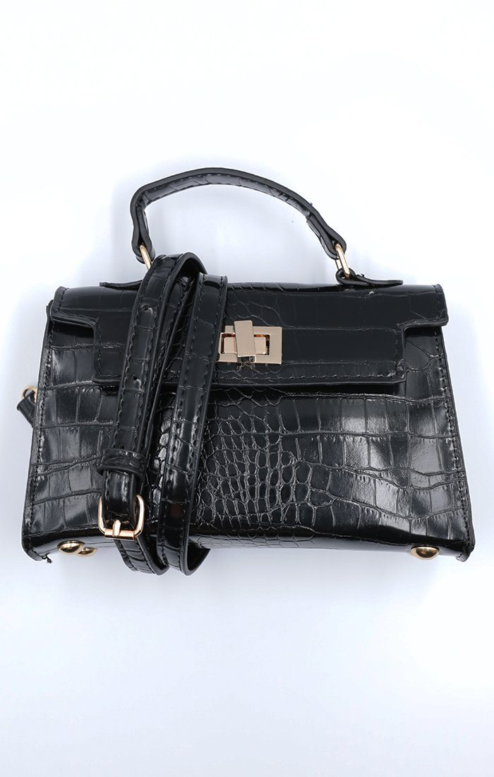 Black Croc Print Structured Gold Buckle Mini Bag - Kerry