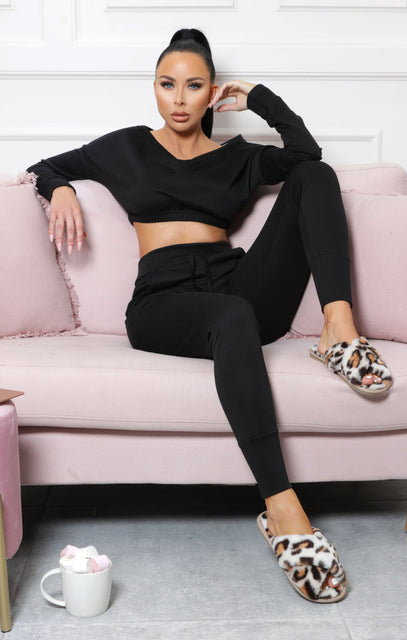 Black Crop Loungewear Set - Deanna