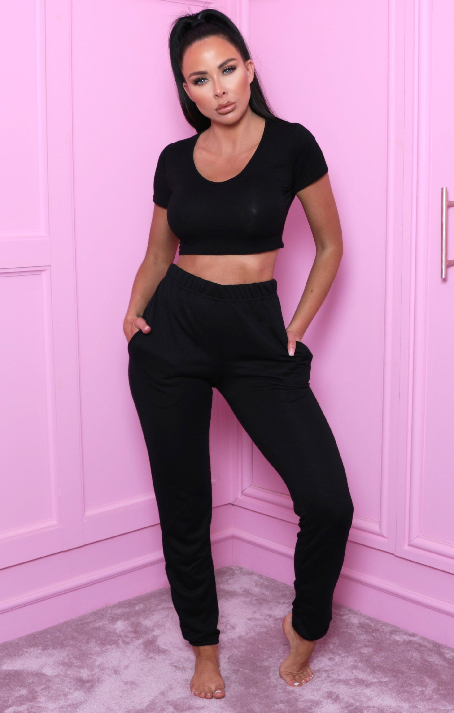 Black Cuffed Elasticated Joggers - Alora
