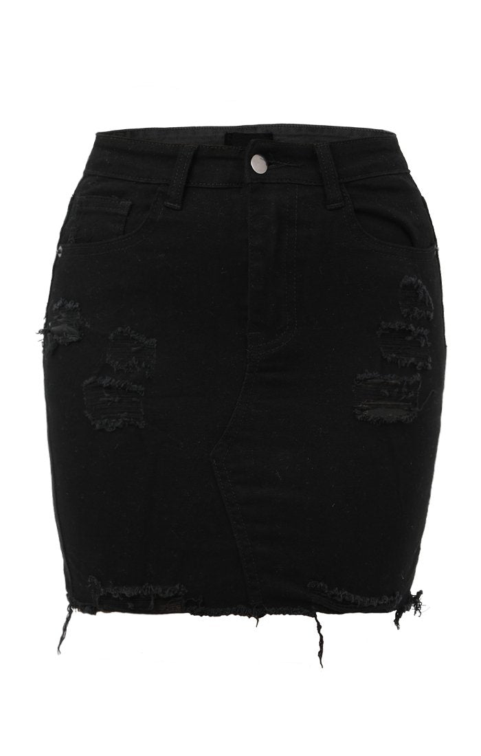 Black Denim Ripped Skirt - Charli