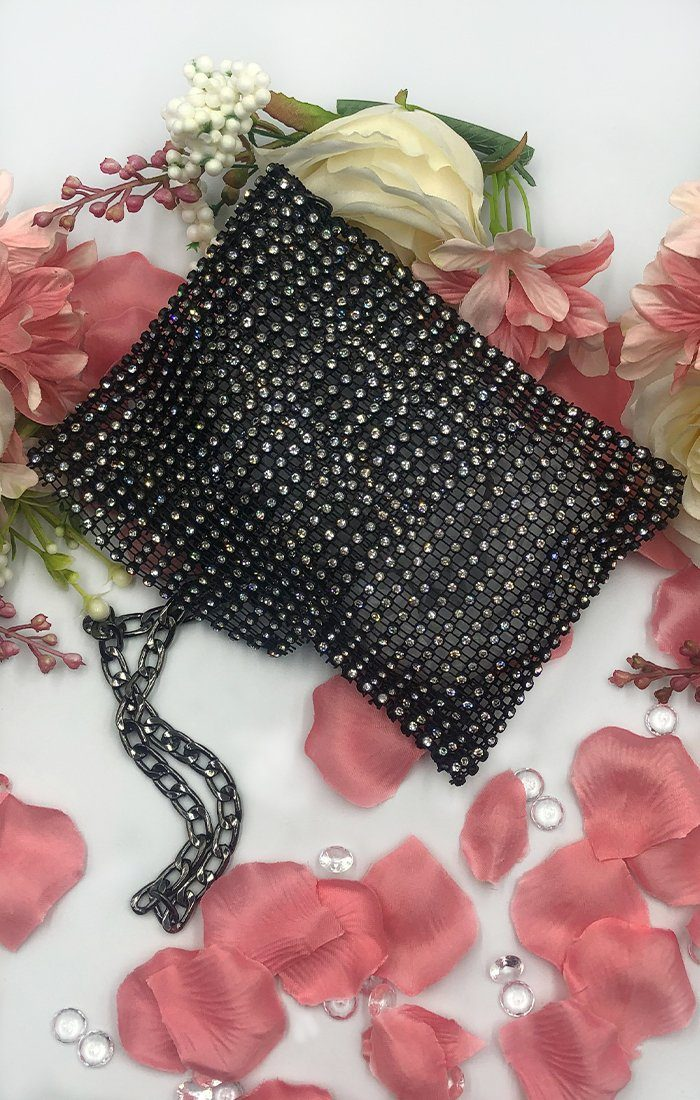 Black Diamante Crossbody Pouch - Della